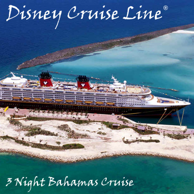 DISNEY CRUISE LINE<sup>®</sup> 3-Night Bahamas Cruise - A magnificent cruise for 2 adults and 2 children filled with magic, romance and impeccable Disney service. Cruise sails from Port Canaveral, FL with stops in Nassau and Castaway Cay, Disney's secluded island retreat. Airfare not included.