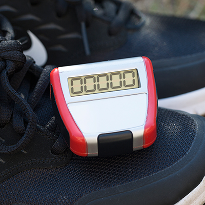 SPECTRADOME™ Compact Pedometer - Compact pedometer with easy to read, jumbo LCD display. Counts up to 99,999 steps to help you keep track of your regular workout routine. Built-in belt clip for easy attachment and use.