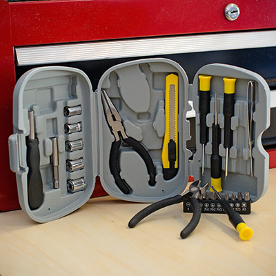 PRECISION CRAFT™ 25-Piece Tool Set - This deluxe tool set includes needle nose pliers, 5 sockets and extender with ratchet sure grip handle, 4 precision screwdrivers and 10 screwdriver bits, wire cutter/stripper, knife and tweezers. Three fold storage case safely holds them all and measures 7